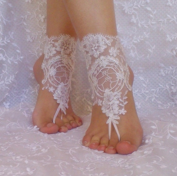 bridal bangle white silvery  beach wedding barefoot sandals