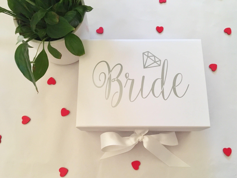Bride Gift Box, Wedding Day Keepsake Box, Deep White Box, Grossgrain ...