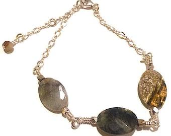 Silver Bracelet with Ocean Jasper