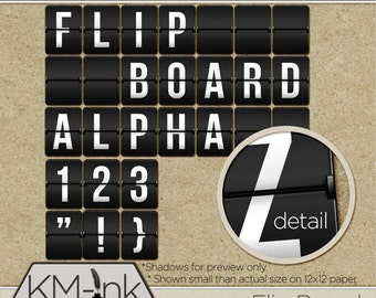 Digital Flip Board Alphabet (Latin Alpha) - Digital Scrapbook Alpha - Travel Clip Art Letters