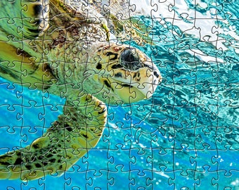 Sea Turtle Zen Puzzle - Hand crafted, eco-friendly, American made artisanal wooden jigsaw puzzle