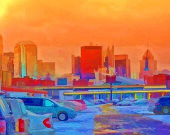 Pittsburgh Pa. Skyline Fine Art Photography, Enhanced Digital Art Print, 11x14 Giclee PRINT, EBSQ