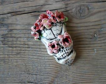 Ceramic pendant connector Skull.Ceramic handmade