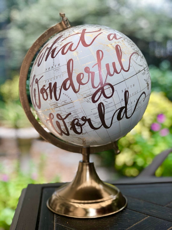 Custom Calligraphy Globe / Your Choice of Wording / White and Gold Calligraphy Globe / Custom Options / Wedding Guest Book/Nursery Globes