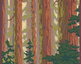 Guerneville, California - Forest View - Lantern Press Artwork (Art Print - Multiple Sizes Available)