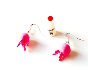 Earrings, UDDERLY COOL, miniature udders pink earrings by The Sausage