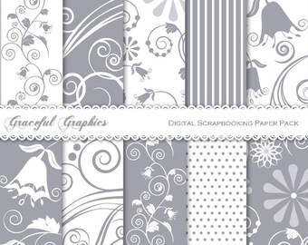 Scrapbook Paper Pack Digital Scrapbooking Background Papers Pack 10 Sheets 8.5 x 11 SWIRLS Bell Flowers Whimsical Gray Grey White 2053gg