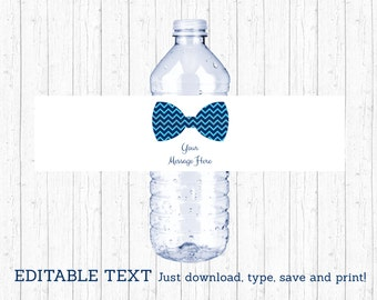 Bow Tie Water Bottle Labels / Bow Tie Baby Shower / Chevron Bow Tie / Little Man Baby Shower / Printable INSTANT DOWNLOAD Editable PDF A113
