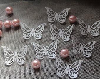 """Matt WHITE """" 30 Butterflies/ Paper Butterflies/ Butterflies DIE CUT/ Paper confetti/ Butterflies for scrapbooking/Party décor/Wedding décor/"""