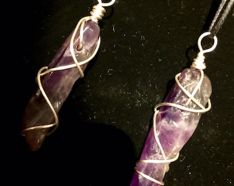 Amethyst Crystal Necklace (Dark) - Copper Wire Wrapped Amethyst Pendant Handmade - Love Potion Magickal Perfumerie