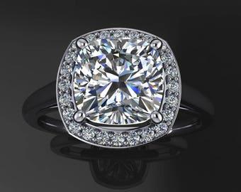 anya ring - 2 carat NEO moissanite engagement ring, diamond halo ring