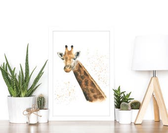 giraffe gift, safari gift, giraffe print, giraffe nursery, giraffe art, giraffe painting, giraffe gift for women, safari animal prints, zoo