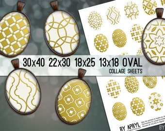 Metallic Moroccan Digital Collage Sheet Oval 30x40 22x30 18x25 13x18  Oval Digital Collage Images for Glass Resin Pendants Cameo