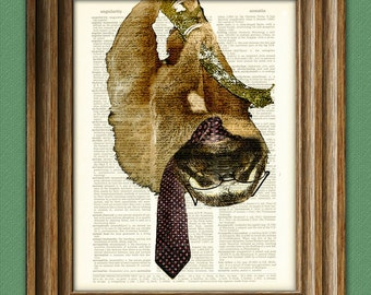 "Sloth Art Print ""Late Again I see, Johnson"" Business Sloth illustration beautifully upcycled dictionary page book art print"