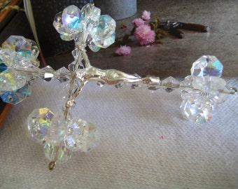 Suncatcher Crystal Cross Auto Charm-Car Cross Charm-Aurora Boreal Suncatcher Ornament-Cross and Stars-Religious Gift-Chandelier crystal