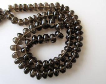 Smoky Quartz Rondelle Beads, Smooth Smoky Quartz Beads, 7-12mm Each, 18 Inch Strand, GDS610