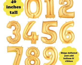 "Gold Number Large Balloon - 40"" Tall Choose Your Number - First Birthday Party Megaloon Gold Foil Balloon Birthday Age Photo Prop Decoration"