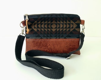 Petite crossbody purse, Boho inspiration, Aztec print, clutch, women's purse