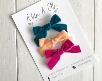 """The """"Hadley"""" Bow, Hand-tied Velvet Bows"""