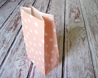 Party Favor Bags-10 PINK Polka Dot Lunch Sack-Dotted Party Favor Bags-Wedding Gift Bag-Light Pink Birthday Treat Bag-Peach Goodie Bag