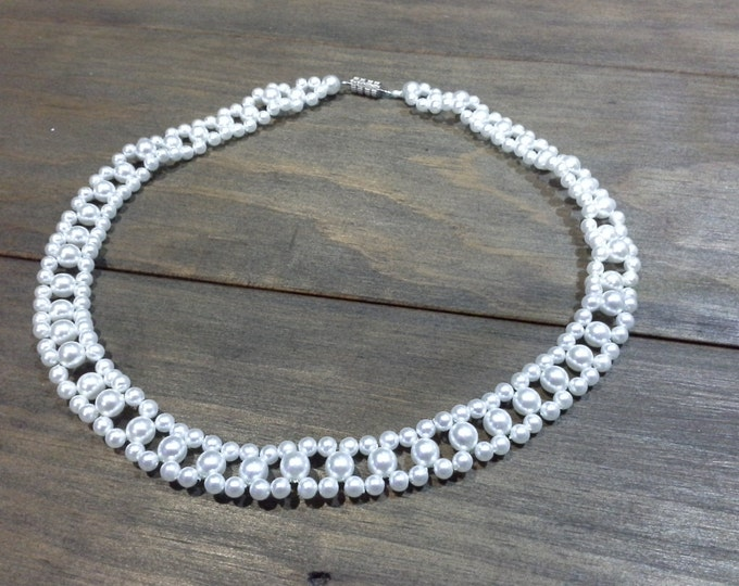 Vintage White Pearl Glass Bead Choker Necklace Large Size 45cm