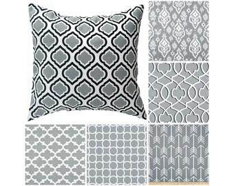 Cool Grey Toss Pillow Cover.Grey Throw Pillows.Grey Moroccan Toss Pillows.Lumbar.Euro Sham.Accent Pillows.16x16.18x18.Any Size