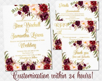 Floral Wedding Invitation set Printable Boho Invite Suite Marsala red burgundy roses bouquet peonies RSVP details inserts Thank you cards