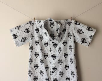 Racoon shirt, racoon gift, racoon print, racoon top, racoon clothes, racoon outfit, button down shirt, collared shirt, monocrome shirt