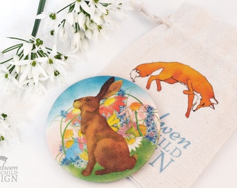 Hare Fabric Pocket Mirror, Cosmetic Mirror, Makeup Mirror, Gifts for Women, Fabric Covered Mirror, Stocking Filler, Hare Gift