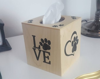 Solid Maple Tissue Box Cover for Pet Lovers