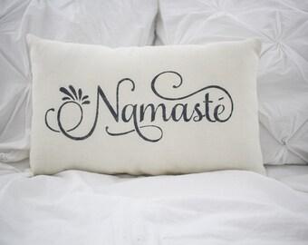 Namaste pillow, home decor, burlap pillow, fabric pillow, 15x10 accent pillow, farmhouse pillow, yoga pillow, yogi