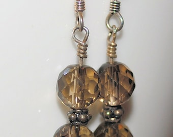 Smoky Quartz Dangle Earrings with Sterling Silver Bali Beads - On Sale 50% Off
