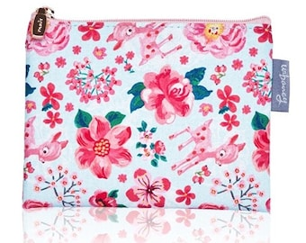 Nathalie Lete zipper bag (Size M) - Small cosmetic pouch - PVC fabric pouch Kawaii coin purse - Pink fawn Cosmetic Bag - Waterproof pouch