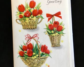 12 HALLMARK EASTER Greeting Cards 1950s, Unused, with Envelopes, Red Tulips, A little Easter Greeting,