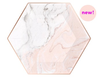 Marble Paper Plates - Rose Gold & Blush — Marbled Pink and Gray and Copper / Wedding Reception, Bridal Shower Decorations / Tableware / Pink