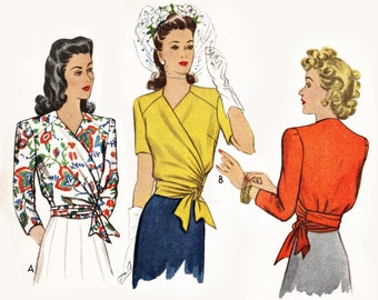 1940s 40s pattern misses women's wrap  blouse vintage sewing pattern reproduction // side tie short long sleeves // Bust 32 34 36 38