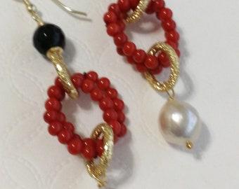 White pearl and coral earrings, onyx earrings, silver pendant earrings