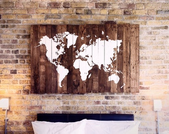 Rustic Wooden World Map - Made from Reclaimed Pallet Boards (100x60cm) - (39x24in)