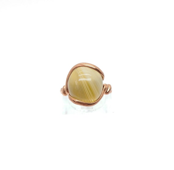 Patterned Stone Ring   Carnelian Agate Ring   Copper Stone Ring Sz 6.5   Rustic Stone Ring   Banded Agate Ring   Copper Agate Ring