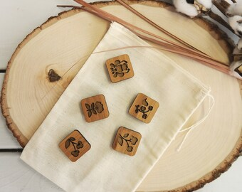 Laser-cut bamboo folk magnets, floral design, square fridge magnets with rounded edges