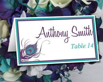 Peacock Wedding Place Card Template   Peacock Feather Wedding Tent Escort Card Turquoise Teal Purple Wedding Table Card Place Setting