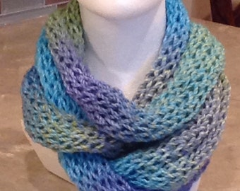 Blue And Green Scarf Easter Scarf Spring Scarf Blue Scarf Green Scarf Infinity Circle Knitted Winter Scarf