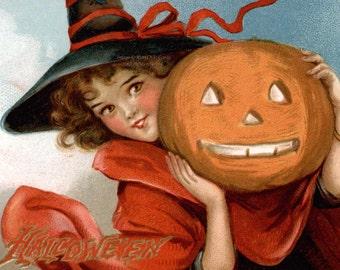 Halloween Witch Card - Girl Holds Jack O'Lantern - Repro Brundage Vintage Style