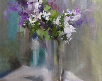 Gift for Her Floral Oil Painting, Flowers in Vase, Lilacs Still Life Artwork, Original Art Floral Canvas Art