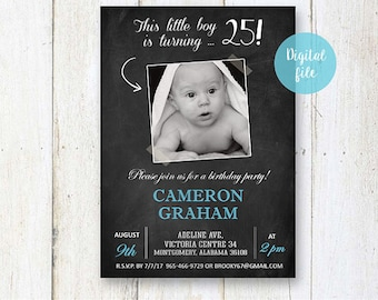 25th Birthday Invitation for men | Personalized Chalkboard collage photo invite for him best brother son in law |  DIGITAL file!