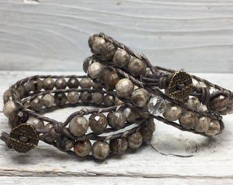 Siren's Call Wrap Bracelet | Silver Leaf Jasper + Smoky Quartz or Crystal Quartz