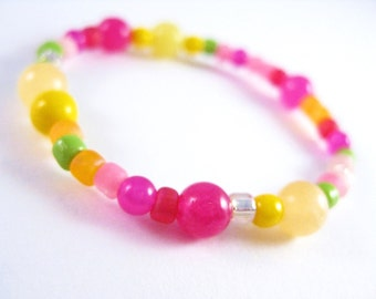 Girls Bracelet Pink and Yellow, Beaded, Small, GBS 120