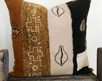 Ethnic multi color Mud Cloth Pillow,Hand Made,African Mud cloth throw pillow,Hand dye,20x20,ethnic case,Mud cloth brown,black,ivory cushion