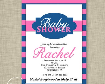 Baby Girl Invitation Pink Baby Shower Invitation Navy Blue and Pink Striped Invitation Nautical Stripes Printable 5x7 JPEG file 22a