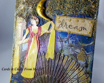Mixed Media Art Panel, Goddess Dancing Art Panel, Dream Panel, Collage Art, Altered Canvas Panel, Stencil Backgrounds
